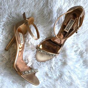 Badgley Mischka Embellished Satin Heels Size 9.5